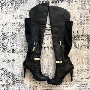 "Fergie black & gold knee high 4"" heel boots"